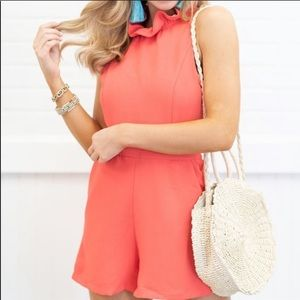 ✨3 for 20✨Do + Be Peach Ruffle Romper Size Large